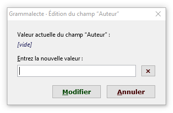 Grammalecte · Modification du champ ‹Auteur›